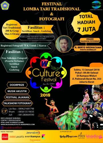 "Foto Suka Tari Tradisional atau Fotografi? Tunjukan Bakat mu di "" We Culture Festival 2018 """