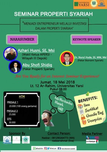 cover SEMINAR PROPERTI SYARIAH : Menjadi Entrepreneur Melalui Investasi dalam Properti Syariah
