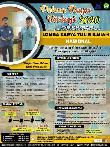 cover LOMBA KARYA TULIS ILMIAH MAHASISWA NASIONAL ADA DI PEKAN RAYA BIOLOGI 2020
